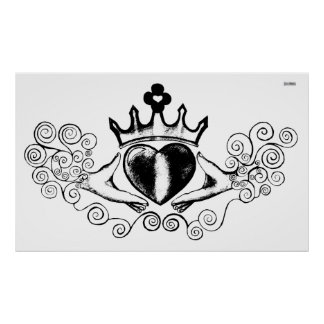 The Claddagh (Black) Poster