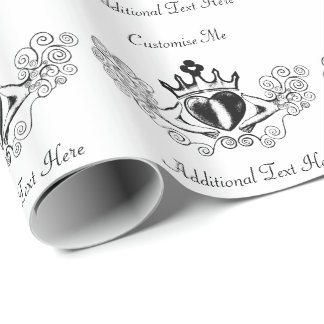 The Claddagh (Black) Wrapping Paper