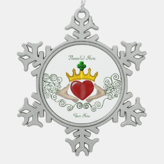 The Claddagh (Full Colour) Pewter Snowflake Decoration