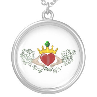 The Claddagh (Full Colour) Silver Plated Necklace