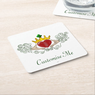 The Claddagh (Full Colour) Square Paper Coaster