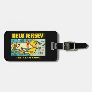 The Clam State, New Jersey, Vintage Luggage Tag