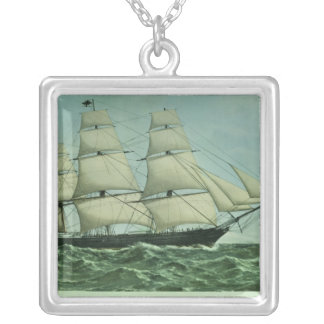 The Clipper ship 'Highflyer', 1111 tons Silver Plated Necklace
