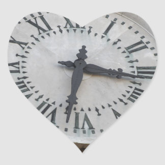 The clock on the facade of the Palazzo dei Priori Heart Sticker