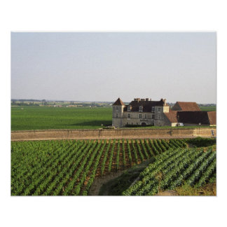 The Clos de Vougeot 16th century monastery and Poster