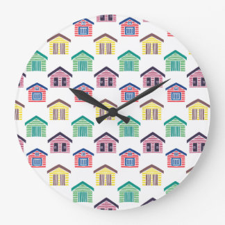 The Colorful Beach Houses Large Clock