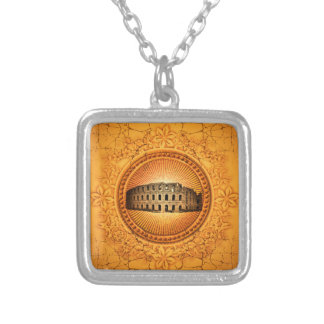 The Colosseum on a button with floral elements Silver Plated Necklace