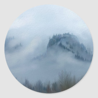 The Columbia Gorge In The Fog Classic Round Sticker