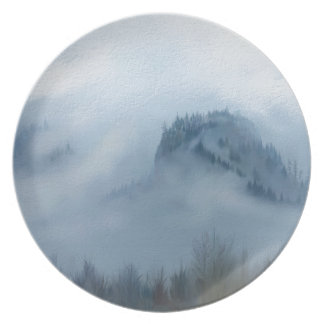 The Columbia Gorge In The Fog Party Plate