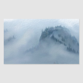 The Columbia Gorge In The Fog Rectangular Sticker