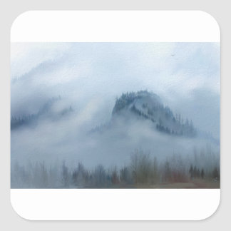 The Columbia Gorge In The Fog Square Sticker