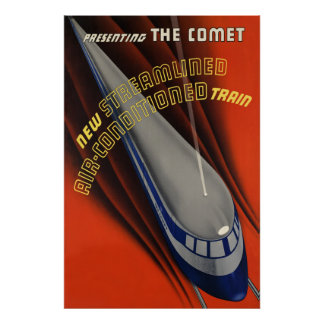 The Comety Vintage Poster Train Print
