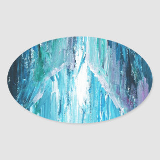 The Coming (religious abstract expressionism) Oval Sticker