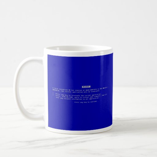 The Computer Blue Screen of Death Coffee Mugs