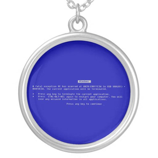 The Computer Blue Screen of Death Pendants