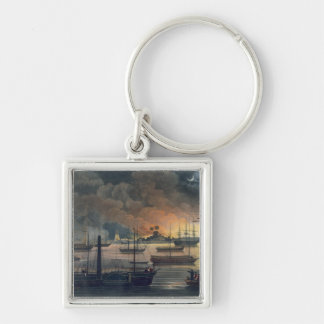 The Conflagration of Dalla on the Rangoon River, p Silver-Colored Square Key Ring