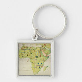 The Continent of Africa Silver-Colored Square Key Ring