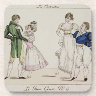 The Contrasts, plate 24 from 'Le Bon Genre', 1811 Drink Coasters