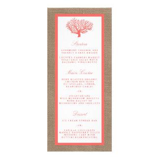 The Coral On Burlap Boho Beach Wedding Collection Full Colour Rack Card