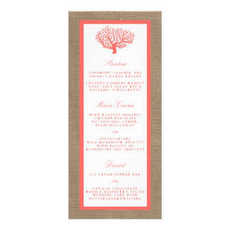 The Coral On Burlap Boho Beach Wedding Collection Rack Cards