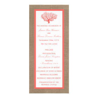 The Coral On Burlap Boho Beach Wedding Collection Customized Rack Card