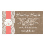 The Coral Sand Dollar Beach Wedding Collection Pack Of Standard Business Cards