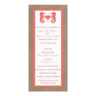 The Coral Seahorse Burlap Beach Wedding Collection Custom Rack Cards