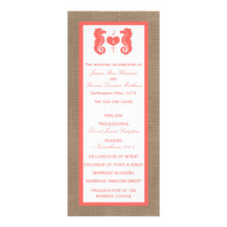The Coral Seahorse Burlap Beach Wedding Collection Rack Cards
