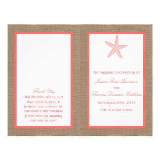 The Coral Starfish Burlap Beach Wedding Collection 21.5 Cm X 28 Cm Flyer