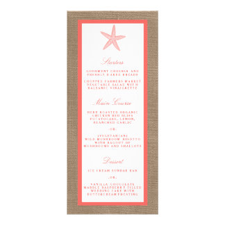 The Coral Starfish Burlap Beach Wedding Collection Rack Card Template