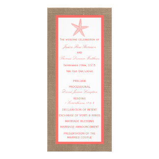The Coral Starfish Burlap Beach Wedding Collection Customised Rack Card