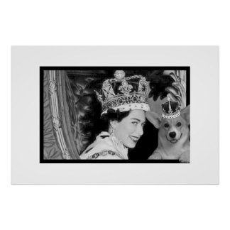The Coronation of Elizabeth II and her Corgi Poster