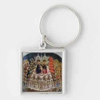 The Coronation of the Virgin in Paradise, 1438 Silver-Colored Square Key Ring