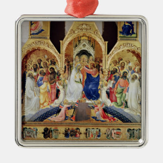 The Coronation of the Virgin Silver-Colored Square Decoration