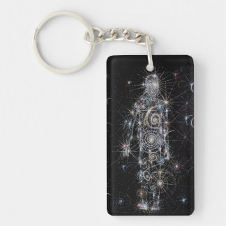 the cosmic Being Double-Sided Rectangular Acrylic Key Ring