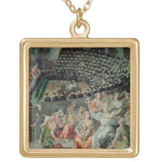 The Council of Trent, 1588-89 (fresco) Square Pendant Necklace