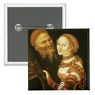 The Courtesan and the Old Man, c.1530 15 Cm Square Badge