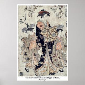 The courtesan Chōzan of Chōjiya by Torii, Kiyonaga Posters