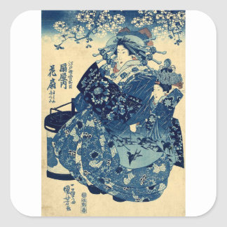 The Courtesan Hanao of Ogiya by Utagawa,Kuniyoshi Square Sticker
