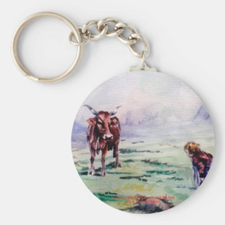 The cow and the boy/The cow and the I go Basic Round Button Key Ring