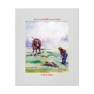 The cow and the boy/The cow and the I go Canvas Print