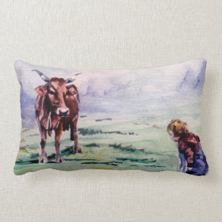 The cow and the boy/The cow and the I go Cushions