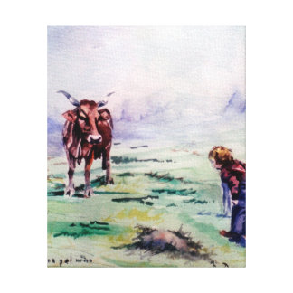 The cow and the boy/The cow and the I go Gallery Wrapped Canvas