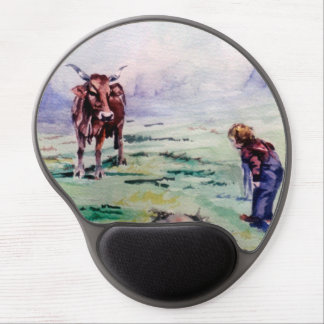 The cow and the boy/The cow and the I go Gel Mouse Pad