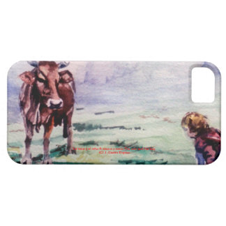 The cow and the boy/The cow and the I go iPhone 5 Cases
