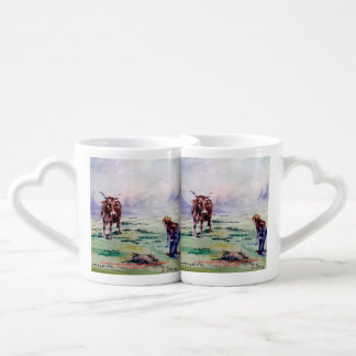The cow and the boy/The cow and the I go Lovers Mug Sets