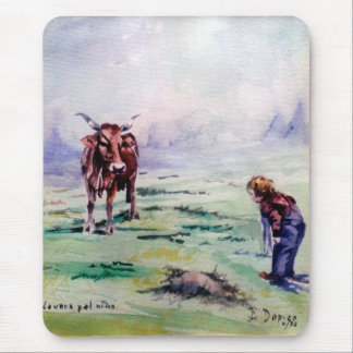 The cow and the boy/The cow and the I go Mouse Pad