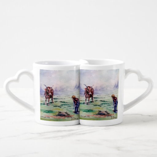 The cow and the boy/The cow and the I go Lovers Mugs