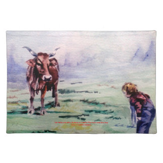 The cow and the boy/The cow and the I go Place Mats