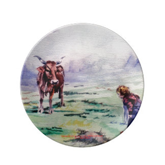 The cow and the boy/The cow and the I go Porcelain Plates